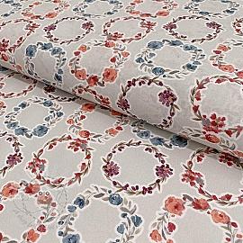 Cotton voile Bagatelle circles coral