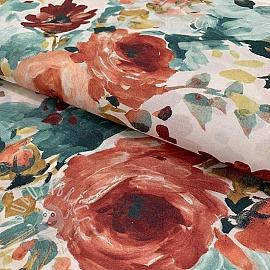 Cotton voile Floris terracota