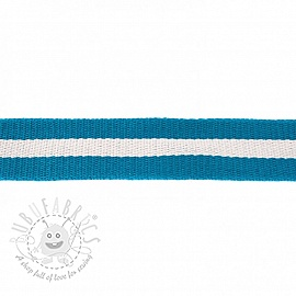 Cotton webbing 4 cm Stripe petrol