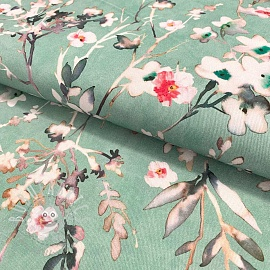 Decoration fabric Aubepine aqua