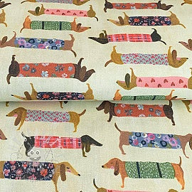 Decoration fabric Family Dachshund digital print