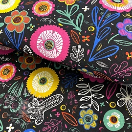 Decoration fabric Folklore bouquet dark