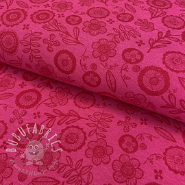 Decoration fabric Folklore flower fuchsia