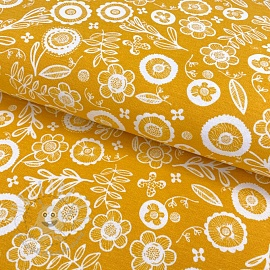 Decoration fabric Folklore flower yellow