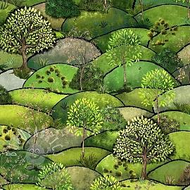 Decoration fabric Forest hill spring digital print