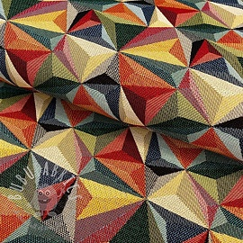 Decoration fabric GOBELIN Colourful triangles