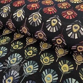 Decoration fabric GOBELIN Peacock Feather Bow black