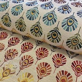 Decoration fabric GOBELIN Peacock Feather Bow cream