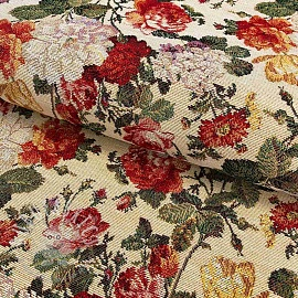 Decoration fabric GOBELIN Roses white small