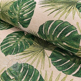 Decoration fabric GOBELIN TROPICAL LEAVES JUNGLE