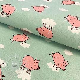 Decoration fabric Happy pigs mint premium