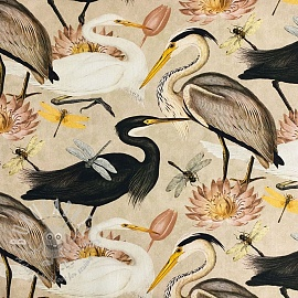 Decoration fabric Herons camel digital print