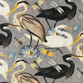 Decoration fabric Herons steel grey digital print