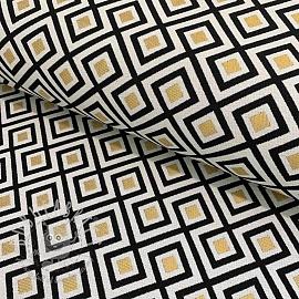 Decoration fabric jacquard Art deco blocks metallic