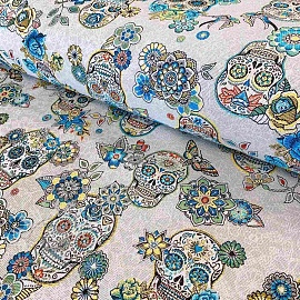 Decoration fabric jacquard CRISTOBAL turquoise