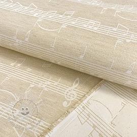 Decoration fabric jacquard Music notes lyrics metallic