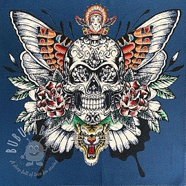 Decoration fabric jacquard Skull denim panel