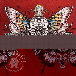 Decoration fabric jacquard Skull rouge panel