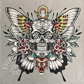Decoration fabric jacquard Skull silver panel