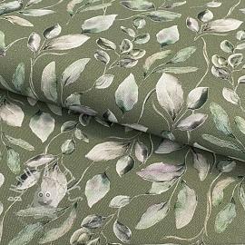 Decoration fabric Leaves moss green digital print