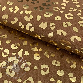 Decoration fabric Leopard prints brown metallic premium