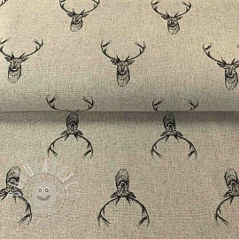 Decoration fabric LINEN DELUXE DEER PENDRAWING