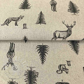 Decoration fabric LINEN DELUXE WOODLAND PENDRAWING