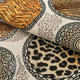 Decoration fabric Linenlook Animal skins mandala