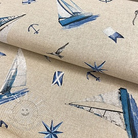 Decoration fabric Linenlook Boat sailing ocean