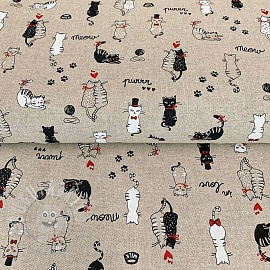 Decoration fabric Linenlook Cats life