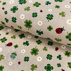Decoration fabric Linenlook Clovers
