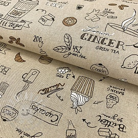 Decoration fabric Linenlook Coffee and cake