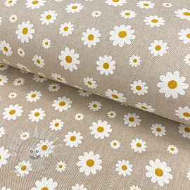 Decoration fabric Linenlook Daisies