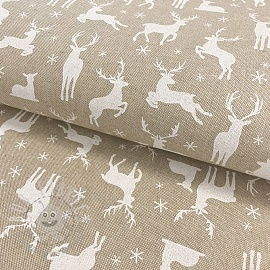 Decoration fabric Linenlook Deer Family