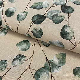 Decoration fabric Linenlook Eucalyptus Leaves