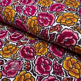 Decoration fabric Linenlook Flowers fuchsia