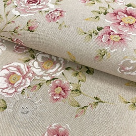 Decoration fabric Linenlook Flowers roses pink