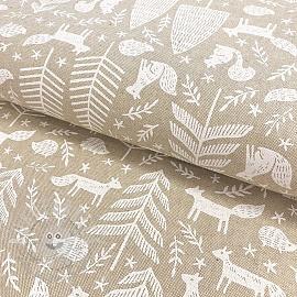 Decoration fabric Linenlook Forest animals handcraft