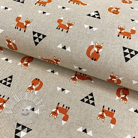 Decoration fabric Linenlook Foxes and triangles