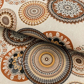 Decoration fabric Linenlook Geometric mandala brown
