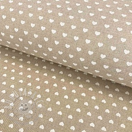 Decoration fabric Linenlook Hearts