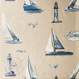 Decoration fabric Linenlook Lighthouse sailing