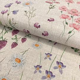 Decoration fabric Linenlook Meadow flowers digital print