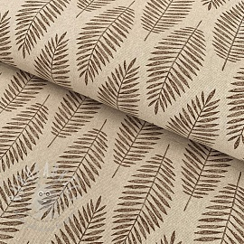 Decoration fabric Linenlook Nature leaf brown