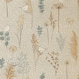 Decoration fabric Linenlook Nordic herbarium