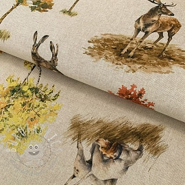 Decoration fabric Linenlook Pheasants digital print