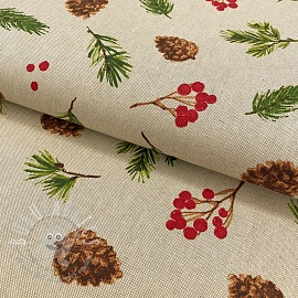 Decoration fabric Linenlook Pine cones