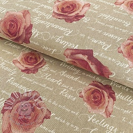 Decoration fabric Linenlook Poems