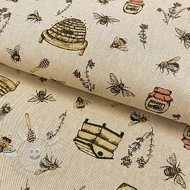 Decoration fabric Linenlook premium Bee Honey Buzzing