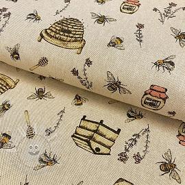 Decoration fabric Linenlook premium Bee Honey Buzzing